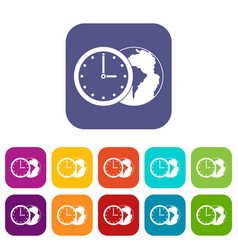 World planet with watch icons set flat vector