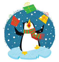 Xmas penguin in a bright scarf standing on an ice vector