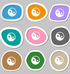 Ying yang icon symbols multicolored paper stickers vector