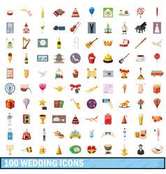 100 wedding icons set cartoon style vector