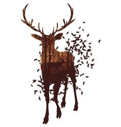 Autumn Forest Landscape and Deer3 vector image