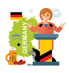German policy woman politician flat style vector