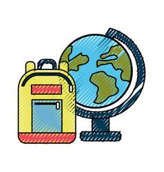 Earth plenet desk with study bag vector