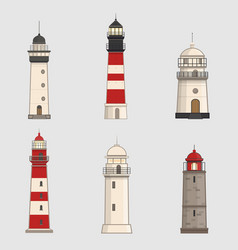 set of different lighthouses on light background vector image