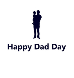 Silhouette of dad with a small child vector