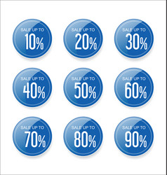 Discount sale stickers blue collection vector