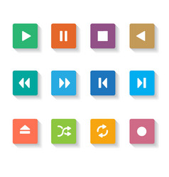 set of 12 square media buttons vector image