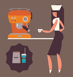Girl with coffee machine vector