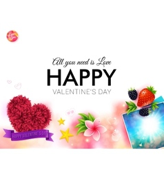 Happy tropical valentines day card design vector