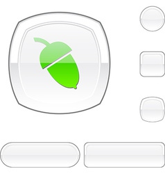 Acorn white button vector