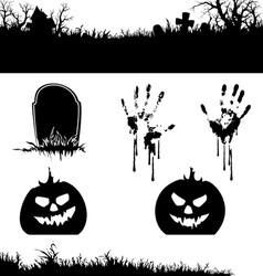 halloween banner and elements silhouette vector image