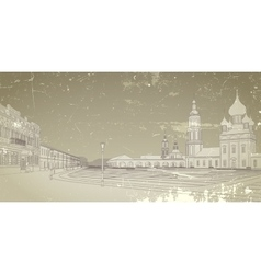 Card with image of the russian city vector