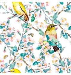 Spring flowers and birds pattern watercolor vector