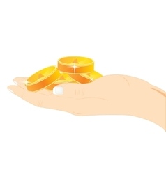 Coins in hand vector