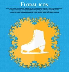 Ice skate icon floral flat design on a blue vector