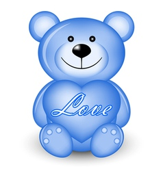 Blue bear with heart vector