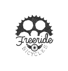 Freeride vintage label with gear silhouette vector
