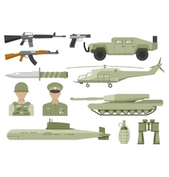 Army Decorative Flat Icons Set vector image
