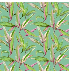 Vintage tropical leaves in watercolor style vector