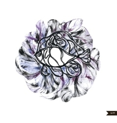 Abstract hand drawn watercolor fish vector image vector image