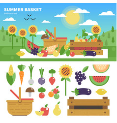 Basket full of fresh fruits and vegetables vector