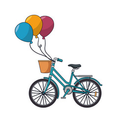 Bicycle retro with balloons party vector