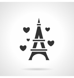 Black Eiffel Tower romance icon vector image