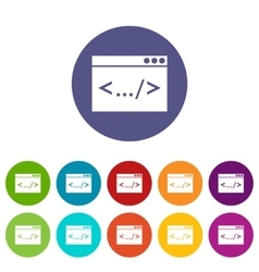 Code window set icons vector image
