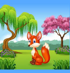 Cute fox sitting in the forest vector image vector image