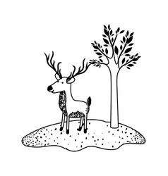 Deer cartoon with long horns next to the tree in vector