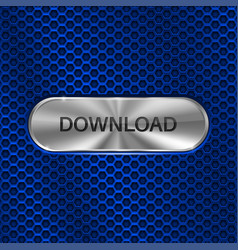 download button metal oval button on blue vector image vector image