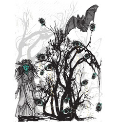 Eye tree halloween poster an hand drawn vector