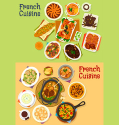 French cuisine dinner icon set for menu design vector