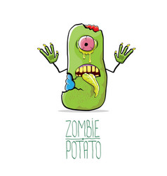 funny cartoon cute green zombie potato vector image vector image