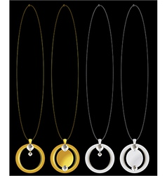 Gold and silver necklaces vector image vector image