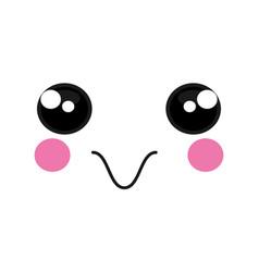 Happy face emoticon kawaii style vector