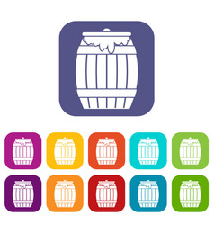 Honey keg icons set vector