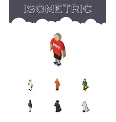 Isometric people set of guy medic girl and other vector