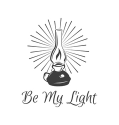 Kerosene lamp vintage paraffin lamp doodle style vector
