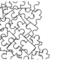 line puzzle pieces game background design vector image vector image