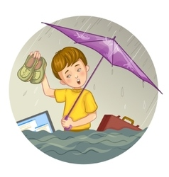 Little cartoon boy who suffers from flood eps10 vector image