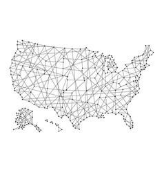 Map of usa from polygonal black lines and dots vector