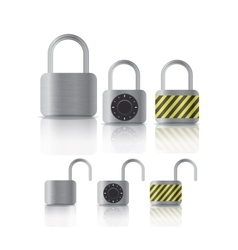metal securite locked and unlocked padlockers vector image