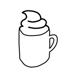 Monochrome contour hand drawn with coffee cup with vector