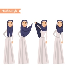 Muslim woman wears hijab vector