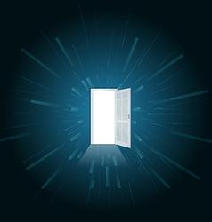 Open white door full of light vector image