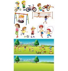 Park scenes with kids playing sports vector