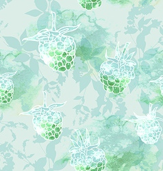 raspberry on green background seamless pattern vector image vector image