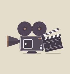 retro movie camera and movie clapper vector image