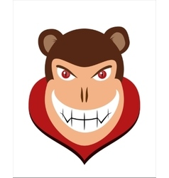 Scary halloween dracula monkey head with red eye vector image vector image